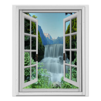 Cachoeira Trompe - l ' janela da falsificação do Pôster