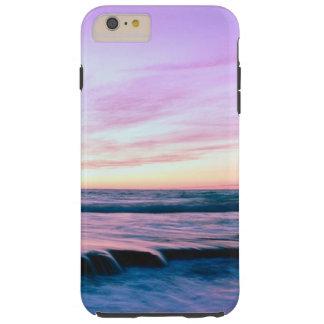 Cachoeiras alaranjadas roxas do por do sol da capa tough para iPhone 6 plus