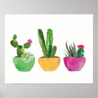 Cacto da aguarela e impressão do Succulent
