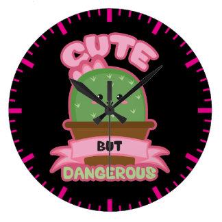 - Cacto de Kawaii - engraçado bonito mas perigoso Relógio Grande