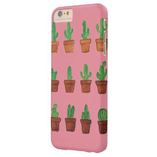 Cacto na capa de telefone cor-de-rosa