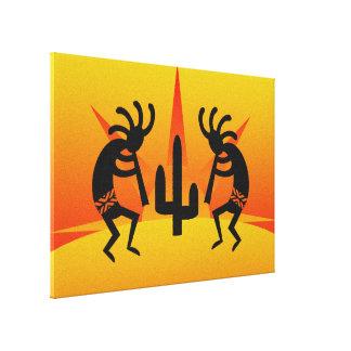 Cacto quente Kokopelli de Sun do deserto do Impressão De Canvas Envolvidas