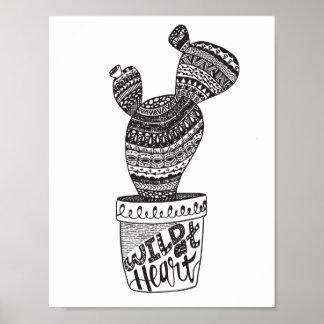 Cacto - selvagem no coração - poster do impressão