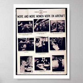 Cada vez mais trabalho das mulheres em aviões posters