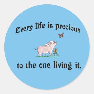 Cada vida é preciosa! Etiqueta dos direitos dos