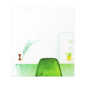 Cadeira verde do artista da aguarela da mesa de bloco de anotação