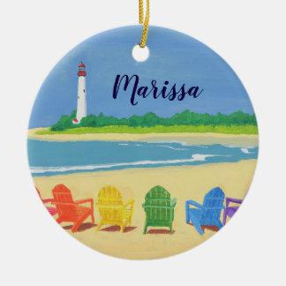 Cadeiras de praia e ornamento personalizado farol