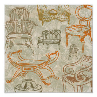 Cadeiras do estilo antigo - poster