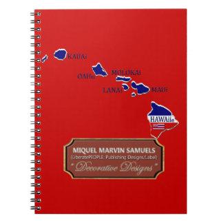 Caderno A bandeira do esboço do país de Havaí colore o