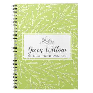 Caderno A folha botânica moderna ramifica as hortaliças