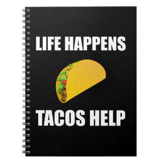 Caderno A vida acontece ajuda do Tacos