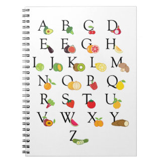 Caderno A-Z do alfabeto de ABC das frutas e legumes do