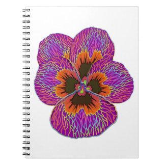 Caderno Abstrato psicadélico da flor do amor perfeito