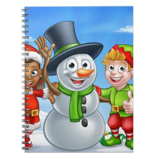 Caderno Ajudantes de Santa do boneco de neve e do duende