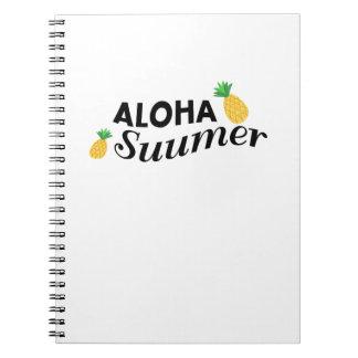 Caderno Aloha abacaxi engraçado da fruta das horas de