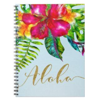 Caderno Aloha floral tropical do pop elétrico brilhante