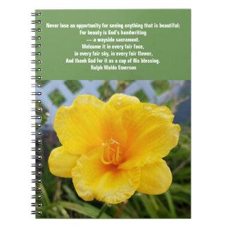 Caderno amarelo do hemerocallis com citações de