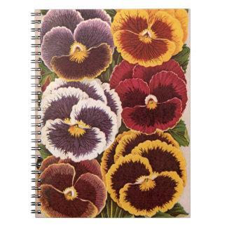 Caderno Arte da etiqueta do pacote da semente do vintage,