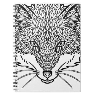 Caderno Arte do Fox-Tatuagem - linha ilustração preta