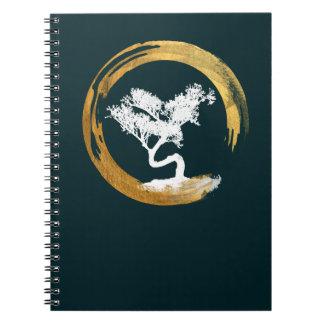 Caderno Árvore dos bonsais. Círculo de Enso do zen. Feng