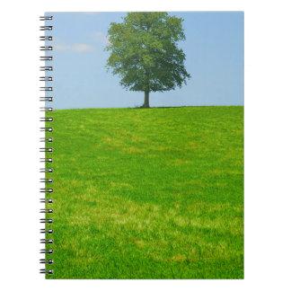 Caderno Árvore em um campo
