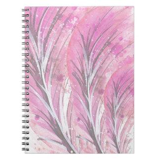 Caderno as penas, luz aumentaram, elegante, sofisticado