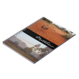 Caderno australiano do interior com nome