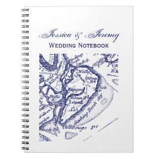 Caderno Azuis marinhos do mapa do vintage do SC de Hilton