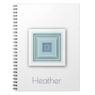 Caderno Azul-céu geométricos elegantes & quadrados