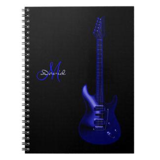 Caderno azul elétrico personalizado da música da