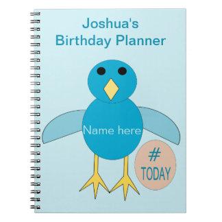Caderno azul feito sob encomenda do pintinho do