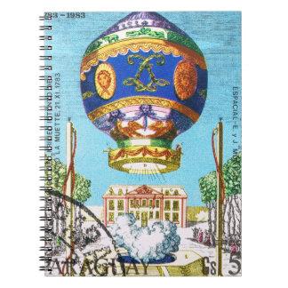 Caderno Balão de ar quente de Steampunk do vintage
