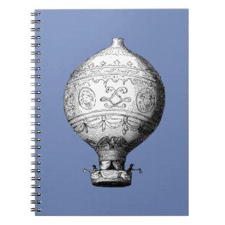 Caderno Balão de ar quente do vintage de Montgolfier