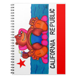 Caderno Bandeira dos pés do urso de Califórnia