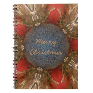 Caderno Baubles da decoração do Natal do vermelho azul