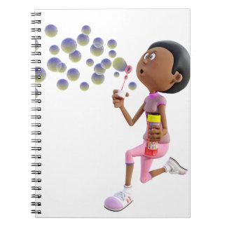 Caderno Bolhas de sopro da menina do afro-americano dos