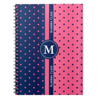Caderno Bolinhas do rosa quente e dos azuis marinhos
