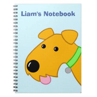 Caderno bonito da cara do filhote de cachorro de