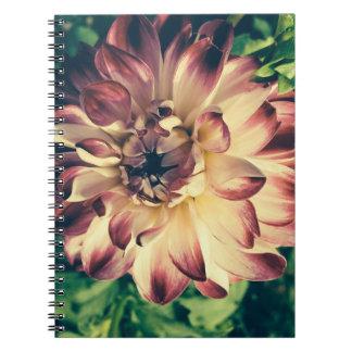 Caderno bonito da flor do vintage do close up