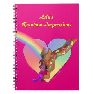 Caderno bonito da foto - arco-íris & Lila do