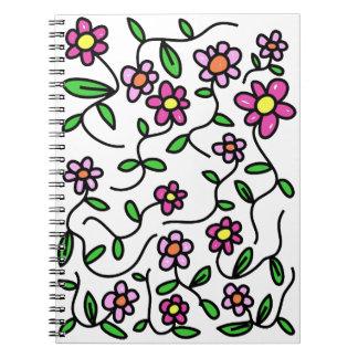 Caderno bonito do Doodle das flores