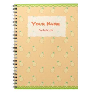Caderno bonito do teste padrão do abacaxi
