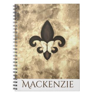 Caderno Borboleta teimoso Fleur Lis de Brown do Sepia do