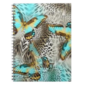 Caderno Borboletas do impressão & da cerceta do leopardo