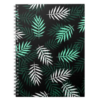 Caderno branco e verde elegante das folhas de