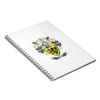 Caderno Brasão da crista da família de Matthews
