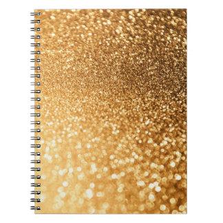 Caderno Brilho na moda luxuoso do ouro do amarelo