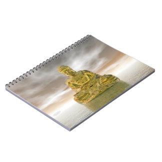 Caderno Buddha dourado - 3D rendem