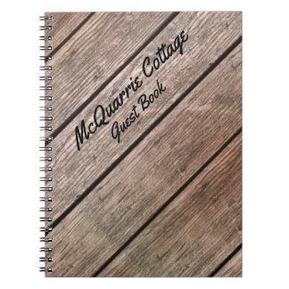 Caderno Cabine da casa de campo ou livro de hóspedes do