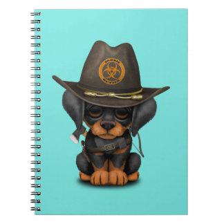 Caderno Caçador bonito do zombi do filhote de cachorro do